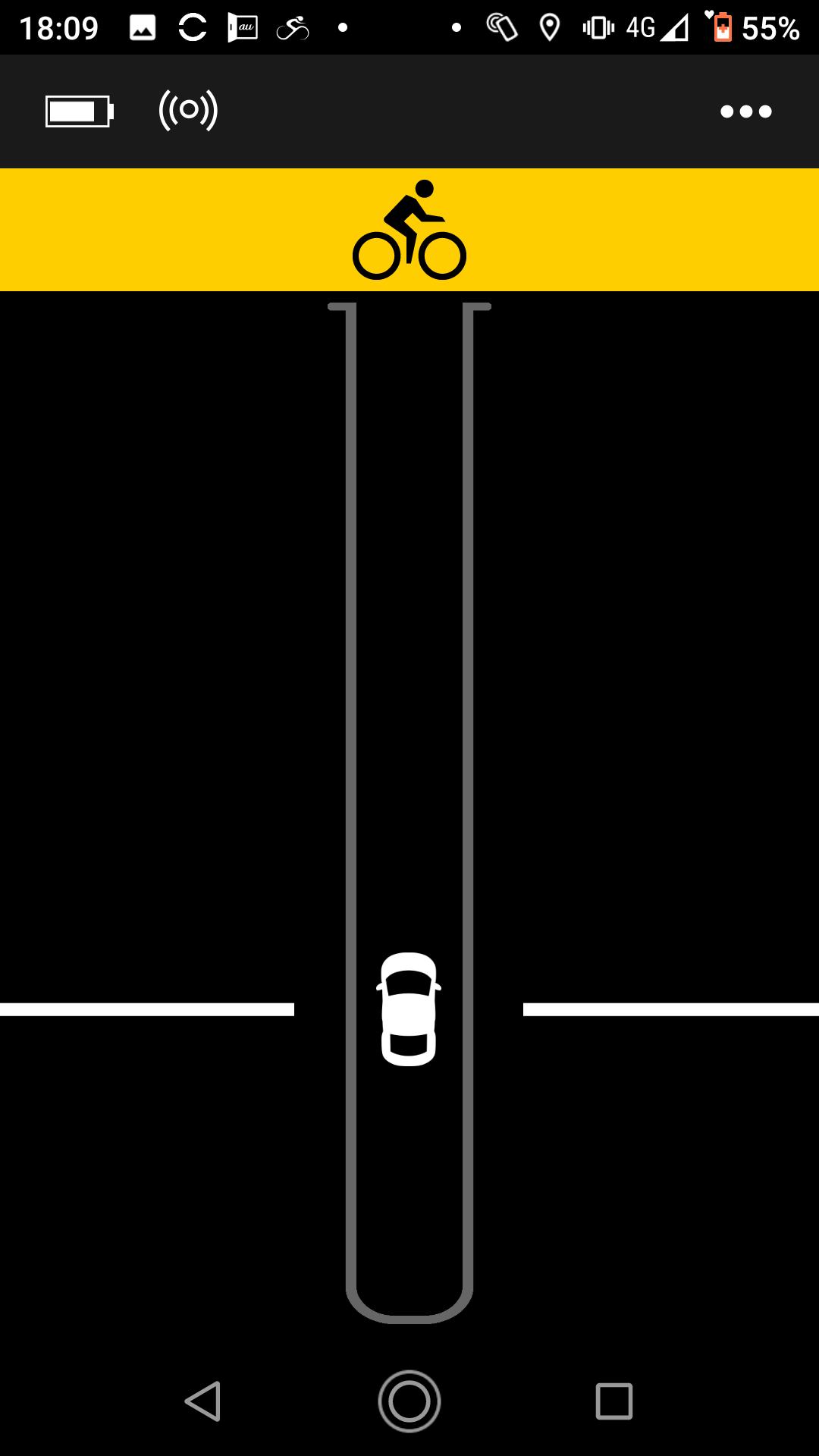 Garmin Varia車両接近時の画面
